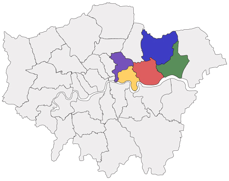 Map of London Brokerages across Boroughs